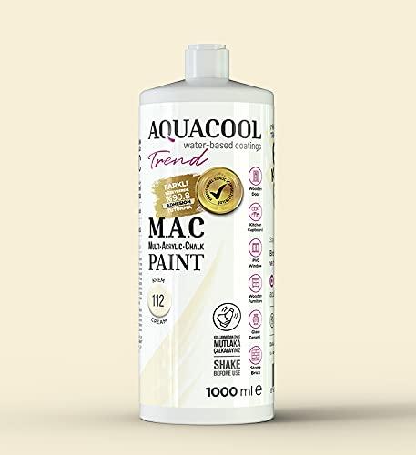 AquaCool Multi Surface, akryl, kreda, matowa, szybkoschnąca farba / do wnętrz i na zewnątrz do mebli, drewna, tworzywa sztucznego, szkła, ceramiki, kamienia (1000 ml, kremowy 112)