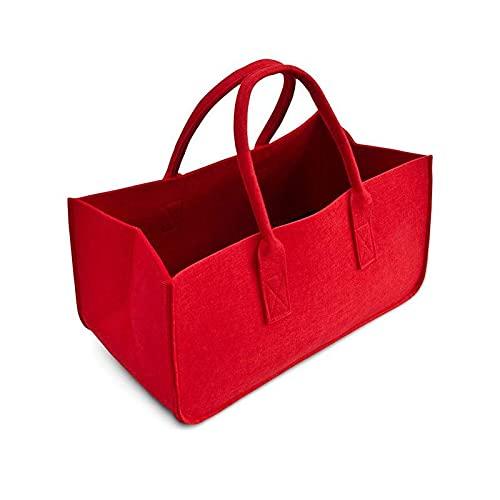 XKMY Cesta de la compra grande para leña, cesta de la compra de fieltro, cesta de la compra con asa para llevar madera, juguetes, ir de compras (color rojo)