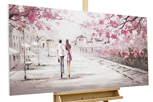 Kunstloft® Cuadro en acrílico 'First Date' 120x60cm | Original Pintura XXL Pintado a Mano sobre Lienzo | Pareja de Enamorados Árboles Beige Rosa | Cuadro acrílico de Arte Moderno