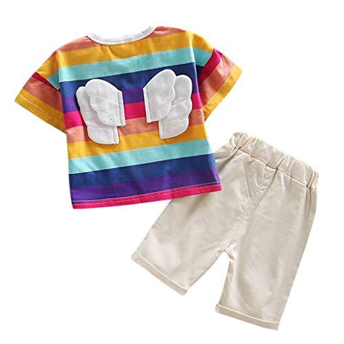 Julhold Kleinkind Baby Junge Mädchen Kind Niedliche Regenbogen Flügel Streifen Tops T-Shirt Shorts Outfits Set Sommer