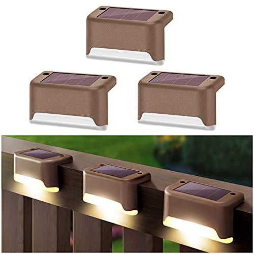 DenicMic 3 Pcs Solar Deck Lights Fence Post Solar Lights for Patio Pool Stairs Step and Pathway, Waterproof LED Deck Lights Solar Powered Outdoor Lights (Warm White)