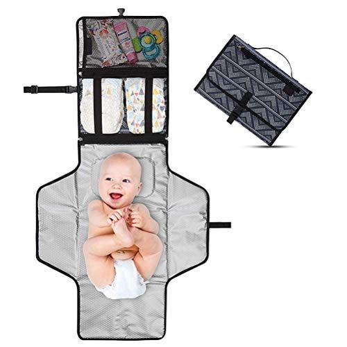Portátil Cambiador, Cambiador Portátil de Pañales para Bebé, Kit Cambiador de Viaje, Impermeable Cambiador de Viaje Esterilla Lavable de Quita Completamente Acolchado