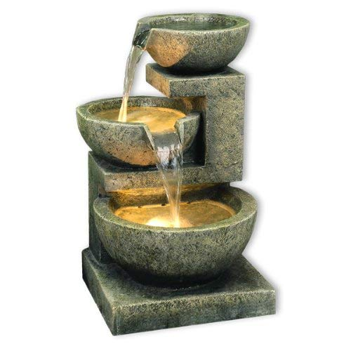Kyoto Three Bowl Cascade Garden Patio Water Feature with White LED Lights
