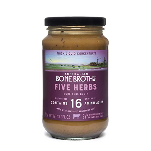 Australian Beef Bone Broth Concentrate - Five Herbs -Instant Bone Broth Beverage - Improve your digestive well-being. 395 grams Made in Australia