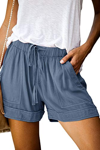 AitosuLa Shorts Damen Sommer Kurze Hose Einfarbig Strand Shorts Freizeitshorts Bermuda Shorts Mit Tunnelzug (1-hellblau, XL)