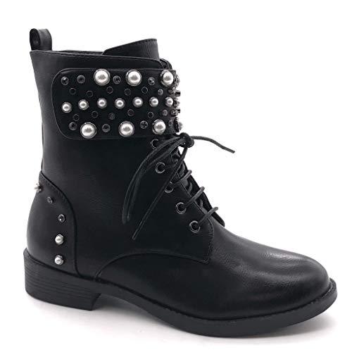 Angkorly - Damen Schuhe Stiefeletten - Combat Boots - Biker - Rock - Nieten - besetzt - Perle - Klettverschluss Blockabsatz 3.5 cm - Schwarz DE1066 T 37
