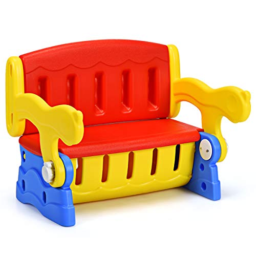 COSTWAY 3 in1 Kinder Sitztruhe, Kindertisch mit Stuhl, Sitzbank für Kinder, Kinderbank Kindersitzgruppe Kindermöbel mit Truhe, kippbar, Rot