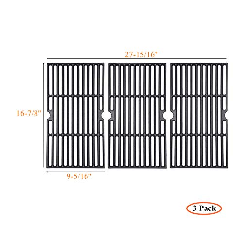 Zljoint Cast Iron Cooking Grid Replacement for Select Gas Grill Models by Charbroil, Kenmore and Others, Set of 3, Fits Master Chef: 85-3100-2, 85-3101-0, Charbroil 4362436214, 463420507, Backyard