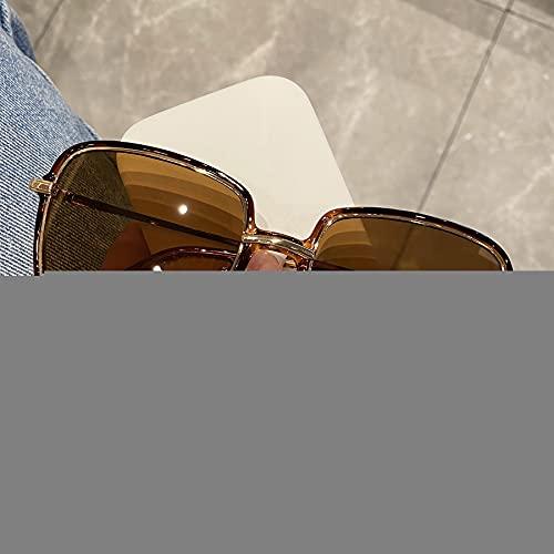 ZHWY Gafas De Sol, Gafas De Sol De Montura Grande, Gafas De Sol con Montura Cuadrada, Moda Retro, Gafas De Sol Anti-Ultravioleta, Gafas De Conducción, Unisex,Dark Brown