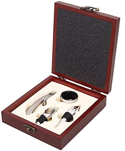 Juego de abrebotellas de vino paquete de vino espiral fresco maquillaje y caja de regalo accesorios de vino de acero inoxidable kit de herramientas de soporte de barra de herramientas-ordinario cuatro