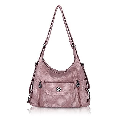 Angel Kiss Tasche Damen Handtasche Umhängetaschen Schultertasche Ultra Soft Washed Lederhandtasche Elegante Damenhandtasche Henkeltaschen mit vielen fächern - Dunkelrosa