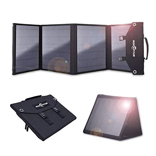 Rockpalsソーラーパネル60WQC3.0ソーラーチャージャーソーラー充電器変換プラグ10枚搭載高変換効率折りたたみ式スマホノートパソコン充電可能