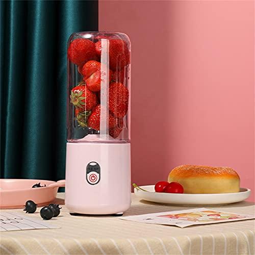 Licuadora portátil recargable por USB, batidora personal pequeña de frutas, licuadora eléctrica, vaso mezclador de frutas, botella mini batidos, zumo, batido (rosa)
