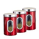Contenedores de almacenamiento set Dispensador de Cereales cocina Hermeticos con Tapa,grande Envase caja Botes Recipientes para Alimentos Acero inoxidable para harina café arroz lentejas, 1.5L rojo