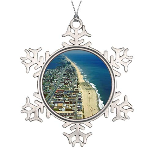 DKISEE Personalized Family Christmas Snowflake Ornament Aerial View of Ocean City Maryland Tree Decorations Ocean City 3 inches Aluminum Metal Christmas Ornament Keepsake