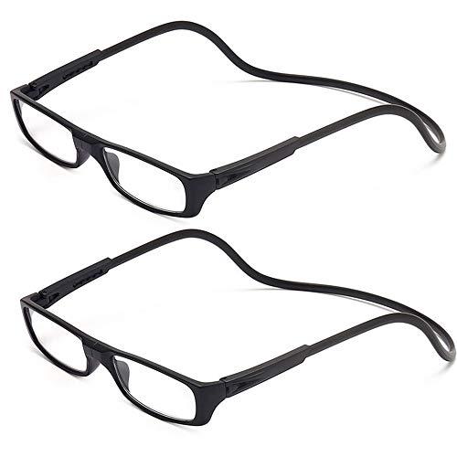 2 Stueck Lesebrille Lesehilfe Schwarz für Herren und Damen +1.5 (50-54 Jahre) Faltbare Einstellbare mit Magnetverschluss und Clip für Alterssichtigkeit und Presbyopie