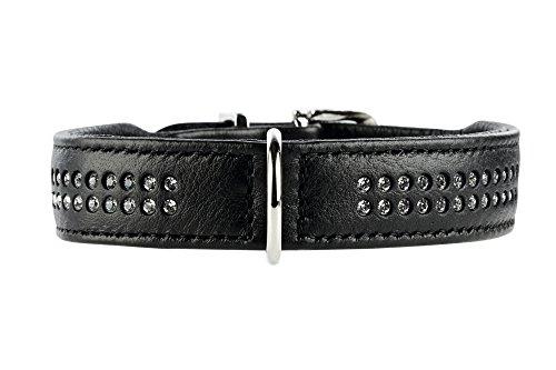 HUNTER DIAMOND ELK PETIT Hundehalsband für kleine Hunde, Leder, Elchleder, weich, Strasssteine, 42 (S-M), schwarz