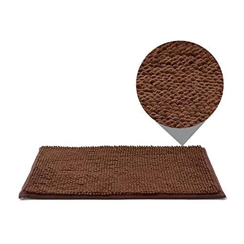 Dalina Textil Alfombra de baño de Chenille - Alfombra de baño Antideslizante y Suave - Alfombra Multiuso para Baño, Lavabo, Cocina, Salón.(40x60cm,Marrón)