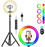 10' Selfie Ring Light with Tripod Stand, GOXMGO Dimmable LED Light Ring with 26 RGB Color Modes and 10 Brightness, USB Powered, Phone Holder for Live Streaming, Makeup, YouTube, Tiktok, Photography