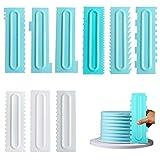 Opaltool 9PCS Raspadores de Pasteles Rasquetas para Tartas de Plastico de Decoración de Pasteles Espátulas de Fondant Crema de Crema de Borde Herramientas de Horneado