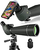 Emarth ArgosEye 20-60x80 Spotting Scope with Tripod Carrying Bag & Phone Adapter, 45-Degree Angled Eyepiece, Spotter Optics Zoom 39-19m/1000m for Target Shooting Bird Watching Hunting Wildlife Scenery