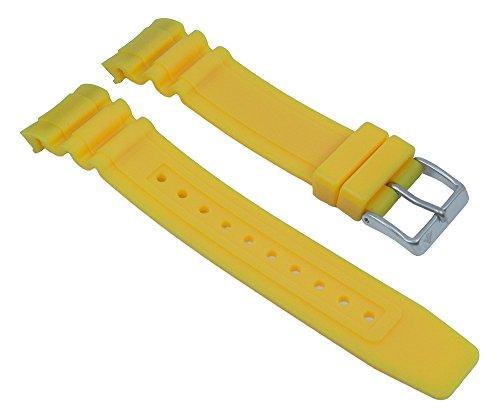 Ersatzband Uhrenarmband Kunststoff Gummi Band gelb passend zu Citizen Promaster Taucheruhr BN0100 28142