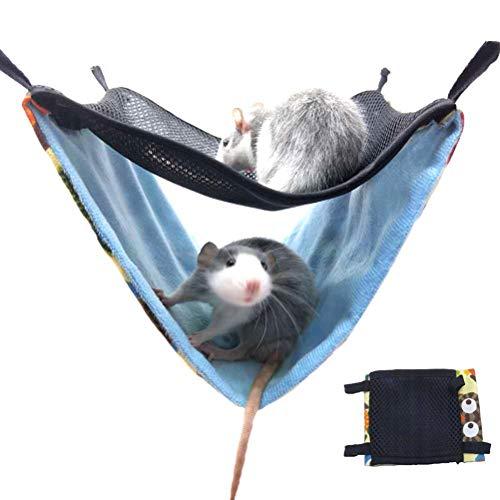 Yissma Animaux de Compagnie hamac, Accessoires Respirants d'animal de lit de Coton de Couches de Coton d'hamac de Doubles Couches pour la Cage appropriée aux furets de Chinchillas