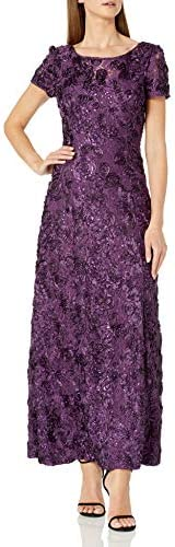 Alex Evenings Women s 10 Long A Line Rosette Dress Eggplant product image
