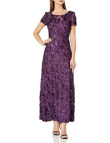 Alex Evenings Women's Long A-Line Rosette Dress, Eggplant, 6