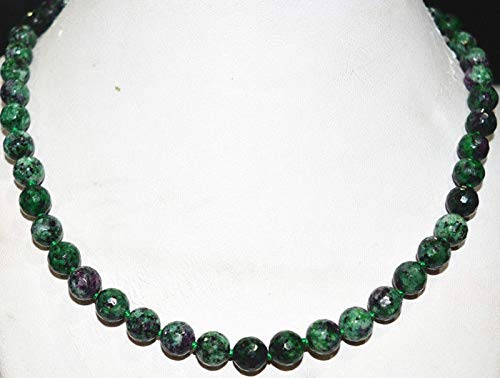 FidgetFidget New 8mm Red Green Ruby Zoisite Round Gemstone Necklace 18'