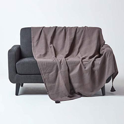 Homescapes große Tagesdecke Rajput, dunkelgrau, Wohndecke aus 100% Baumwolle, 225 x 255 cm, Sofaüberwurf/Couchüberwurf in RIPP-Optik