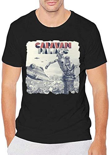 Caravan Palace Panic Men\'s Round Neck Summer Short Sleeve Tee Fashion Casual Black,Black,M