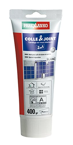Parexlanko, Colle & Joint 2 en 1, Pâte pour collage de carrelage et réalisation de joints hydrofugés prêt à lemploi pour pièces humides, Blanc, 400g