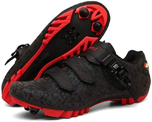 YUNZHI Calzado de Ciclismo para Hombre, Zapatillas de Ciclismo de Carretera Luminosas para Mujer, Tachuelas Antideslizantes Compatibles con Hebilla de Zapato SPD, Respirable,42
