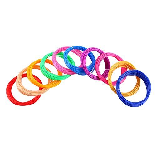 VIENDADPOW Plastica per Penna 3D 50 Metri PLA 1.75mm Stampante 3D Filamento Stampa Materiali per estruso Accessori Estrusore Parti ABS Materiale di Stampa (Color : 50m PLA 10 Color)
