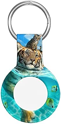 3D Tiger H and Cat Apple Airtag Case Protective Air Tag Keychain with Anti-Lost Design