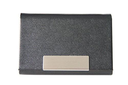 Visitenkartenetui schwarz - hochwertiges Kunstleder mit Magnetverschluss in gebürstetem Edelstahl, edle Visitenkartenbox im Business-Look von K.DESIGNS
