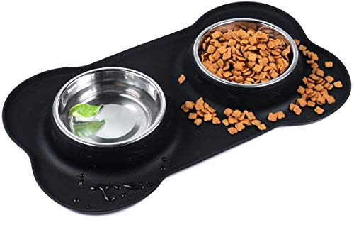Gutekatz Hundenapf Edelstahl, 2 x 350ml Edelstahl Hund Schüssel| Fressnapf mit rutschfest Silikonmatte, Futternapf Doppel, Katzenapf in 2 Größen Futterstation, Hund schüssel wassernapf