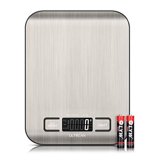 Ultrean Balance De Cuisine Numérique 5KG avec Écran LCD, Balance De Précision à 6 Unités De Mesure, fonction tare, en Acier Inoxydable, Batterie Incluse