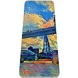 Esterilla de yoga TPE antideslizante arte abstracto de 6 mm de grosor, antidesgarros para todo tipo de yoga, pilates y suelos, 72 pulgadas de largo x 32 pulgadas de ancho x 6 mm de ancho