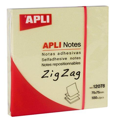 APLI 12078 - Notas adhesivas ZigZag CLASSIC 75 x 75 mm bloc de 100 hojas c