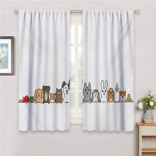 Toddler Printed Bedroom Curtains Decor Cute Domestic Pets Various Animals with Funny Expressions Humorous Cartoon Style Easy to Clean W72 x L63 Inch Multicolor