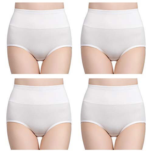 wirarpa Womens Cotton Underwear Panties High Waisted Full Briefs Ladies No Muffin Top Underpants 4 Pack White Size X-Large
