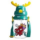 RUI - K25 RUIRUI Material de Tritan Copa para niños con Paja 180 ° Aberturas Agua Absorbente bebé Lindo Taza 450ml Copa de Gran Capacidad (Color : Green)