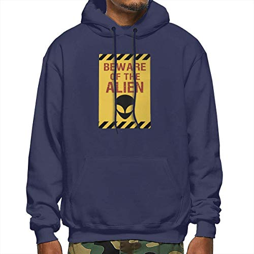 About Beware of The Alien Funny Warning Men's Long Sleeve Pullover Hoodie Sweatshirt Kangaroo Pocket Hoodie