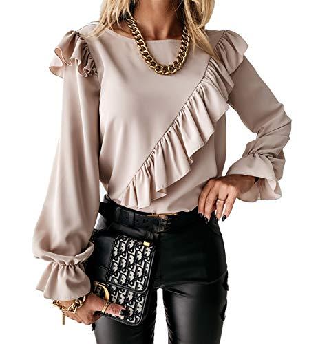 Blusa Donna Camicia Top Primaverile Autunnale con Maniche Lunghe a Sbuffo Casual Elegante Vintage Blusa per Ufficio OL