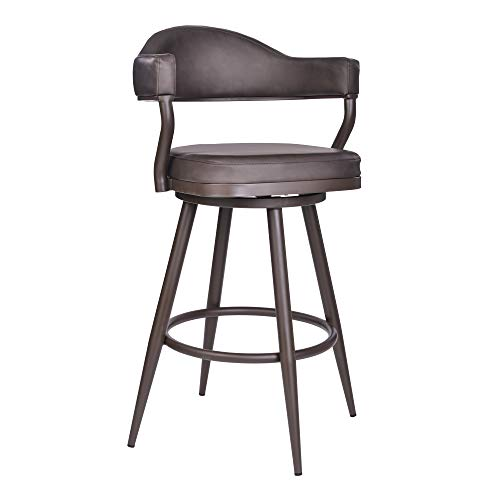 Armen Living Justin Faux Leather Swivel Kitchen Bar Stool, 30' Height, Vintage Brown