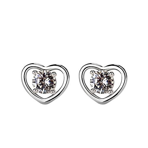 RSHJD S925 Pendientes de Plata esterlina en Forma de corazón Amor Diamond Peach Heart Pendientes para Mujeres,Plata