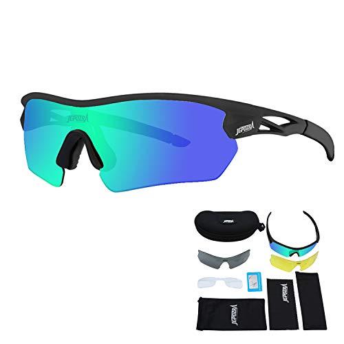 Toptotn Occhiali Ciclismo Uomo Donna Occhiali da Sole Sportivi Polarizzati Lenti Intercambiabili Occhiali mtb Occhiali Bici da Corsa Antivento e Antiappannamento
