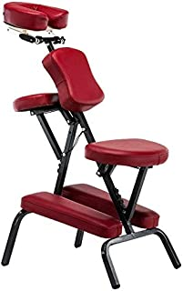 Portable Folding Adjustable Massage Chair Tattoo Scraping Chair Beauty Bed with Armrest (Red Wine) High Quality (Color : R...